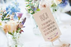 Wild Flowers stationery - romantic quote table name