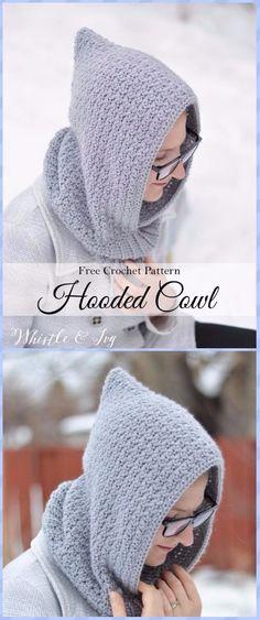 Crochet Women's Hooded Cowl Free Pattern - Crochet Infinity Scarf Free Patterns