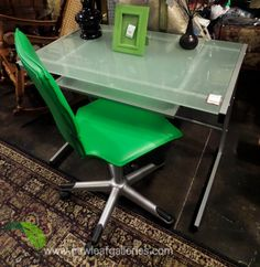 Modern Desk with Green Chair
