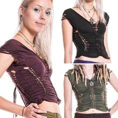BRAIDED PSY TRANCE TOP, pixie slashed, boho Goa beach plaited, festival clothing