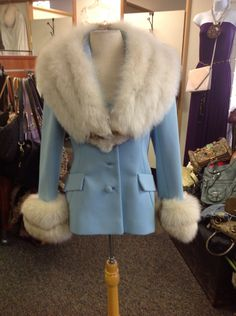 1960   Baby Blue Jacket With Mink Collar and Cuffs by Lilly Ann