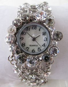 Bracelet Watch - Crystal Time - Pretty Bracelet Watch.  Unique Wrist Watch with a lovely pattern, designed especially for you and your beloveds.  Along with the watch you get from us a lovely gift box.