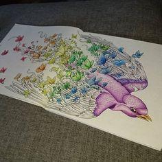 Wip #workinprogress #wip #adultcoloring #bird #butterfly #butterflies #colorful #imagimorphia #kerbyrosanes #målarbokförvuxna