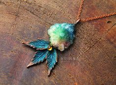 Leafy elven electroformed polymer clay rainbow solar quartz fantasy necklace with and glass ball fairy magic nature copper by KrinnaHandmade on Etsy