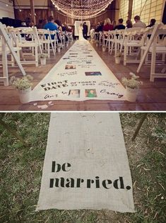Awesome and Fun Wedding Ideas = You can show your story off to everyone by incorporating it into the aisle runner.