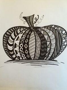 Halloween zendoodle, zentangle pumpkin = zenpumpkin