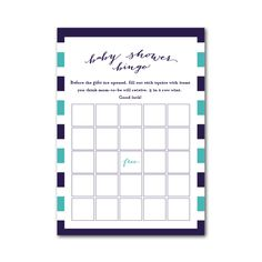 Printable Baby Shower Bingo -  Makes planning easy and the shower fun!