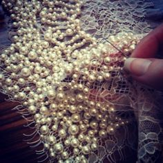 interiorlulu:  Back on the pearl stitching today..
