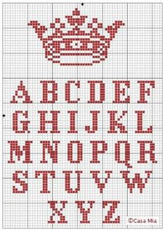 "do this or the Zombie ""Keep Calm"" - crown and alphabet cross-stitch pattern {DIY ""keep Calm and. Cross Stitch Letters, Cross Stitch Samplers, Cross Stitch Charts, Cross Stitch Designs, Cross Stitching, Cross Stitch Embroidery, Hand Embroidery, Alphabet Au Crochet, Embroidery Alphabet"