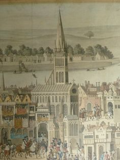 This is a detail of SH Grimm's drawing of a wall painting in Cowdray House, Sussex, England, depicting the coronation procession of Edward VI. The drawing is on loan to the Museo Correr, Venice, in its exhibition, 'The Image of the European City from the Renaissance to the Enlightenment'.
