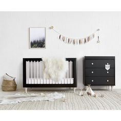 Babyletto - Lolly Cot - Black & Washed Natural | Design Kids Australia