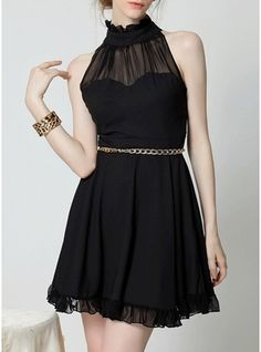 Polyester With Stitching/Ruffles/See-through Look Above Knee Dress