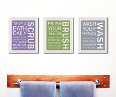 Bathroom decor. Kids Bathroom rules. Bathroom prints bathroom art. Typography. Set of 3 8x10 prints by WallFry