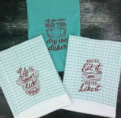 Embroidered kitchen towel / tea towel / flour sack towel / teal / set of 3…