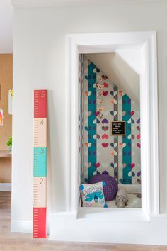 A Colorful and Cheerful Space for the Entire Family by Joy Street Design | Rue Office Items, Under Stairs, Colorful Wallpaper, Painting Cabinets, Kid Spaces, Built Ins, Girl Room, Family Room, Cheer