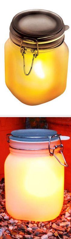 Outdoor Solar Mason Jar Lights #diy #easy #idea #camping