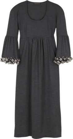Burberry Prorsum Embellished Wool Dress in Gray