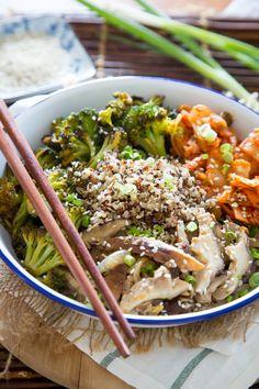 Recipe: Quinoa Bowl with Kimchi, Miso Mushrooms, and Crispy Broccoli — Recipes…