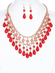 Red Bollywood Necklace And Earrings Set
