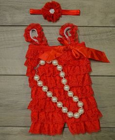 Christmas Romper, Red Lace Romper Set, 3pc set