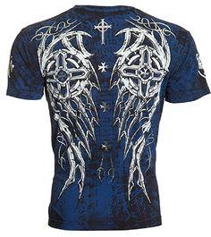 Archaic AFFLICTION Mens T-Shirt SPIKE WINGS Cross Tattoo Biker MMA UFC (X-Large)