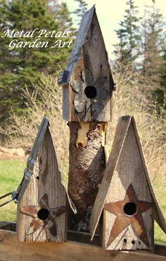 Metal Petals Garden Art .... rustic bird houses
