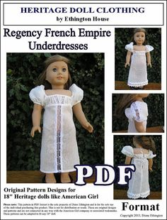 Regency French Underdresses and Nightgown PDF by MotherofNine, $4.00