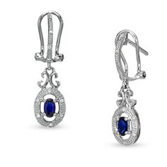Blue Sapphire and Diamond Accent Drop Earrings