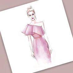 Fashion Illustration Speed Painting with Ink Design: Veronika Ahmatova Şahver Orhan Dress Design Drawing, Dress Design Sketches, Fashion Design Sketchbook, Fashion Design Drawings, Wedding Dress Sketches, Sketch Design, Dress Designs, Art Sketchbook, Drawing Sketches