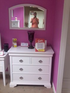 Beautiful white 3+2 chest and matching arched mirror