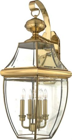 Quoizel Newbury 4 Light Tall Outdoor Wall Sconce with Clear Glass Polished Brass Outdoor Lighting Wall Sconces Outdoor Wall Sconces Brass Outdoor Lighting, Outdoor Wall Lantern, Outdoor Wall Sconce, Outdoor Walls, Quoizel Lighting, Beveled Glass, Polished Brass, Solid Brass, Glass Panels