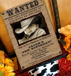 Cowboy Birthday Invitation | Cowboy Western Party Invitation | Wanted Poster 1st Birthday | Cowgirl Invitation Printable | Amanda's Parties by AmandasPartiesToGo on Etsy https://www.etsy.com/listing/78468342/cowboy-birthday-invitation-cowboy
