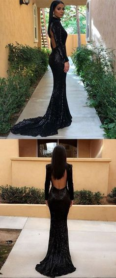 black sequined mermaid prom dresses, unique long sleeves sweep train party dresses, elegant open back evening gowns with sleeves P2599