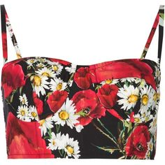 Dolce & Gabbana daisy and poppy print bustier top ($830) ❤ liked on Polyvore featuring tops, crop tops, shirts, black, sweetheart crop top, spaghetti strap top, bustier tops, crop shirts and crop top