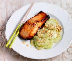 Miso Salmon with sesame cucumber salad