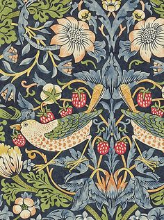 William Morris Wallpaper | William Morris Wallpaper-Strawberry Thief 212564