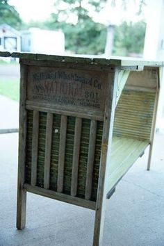 Awesome side table with old wash boards & beadboard!
