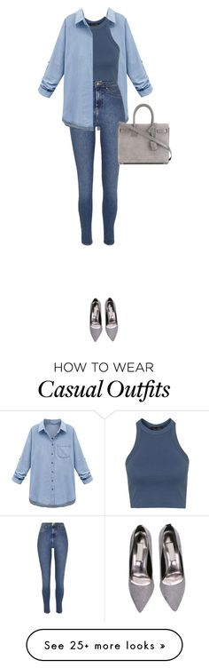 """casual"" by luvvogue on Polyvore featuring мода, WithChic, Topshop, River Island, Yves Saint Laurent, women's clothing, women, female, woman и misses"