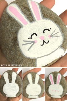 Easter Bunny Rock ~ Easter rock painting ideas for beginners. #bunnyrock #easterbunnyrock #easterrockpainting #rockpaintingideas #stonepainting #howtodrawabunny #rockpainting101