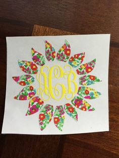 lilly sunflower monogram, yeti decal, car decal by BarefootImageDesigns on Etsy https://www.etsy.com/listing/399611617/lilly-sunflower-monogram-yeti-decal-car