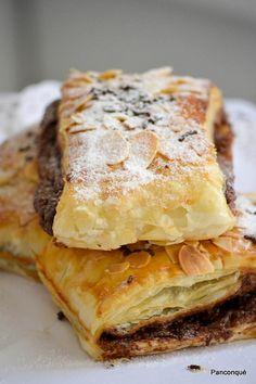 Napolitanas con chocolate -Planchas de hojaldre lidl -crema de avellanas con cacao lidl