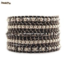 2017 new grey stone with crystal 5 wrap alloy bracelet silver button