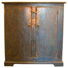 "Century Quebec Province Two Door Cupboard ""I wish I hadn't already bought that other cupboard. Primitive Cabinets, Primitive Furniture, Country Furniture, Unique Furniture, Painted Furniture, Furniture Storage, Antique Cupboard, Antique Cabinets, Primitive Homes"
