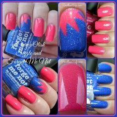 piCture pOlish: Sizzle and Forget Me Not with Nail Vinyls Starburst Accent | Pointless Cafe