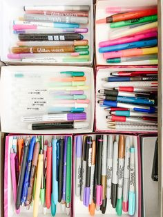 """While everyone was amazed by Marie Kondo tidying up skills on netflix, I was all like """"been there, been doing that!"""" If an organized junk drawer isn't I don't … Junk Drawer Organizing, Home Organization, Uggs For Cheap, Marie Kondo, Tidy Up, Markers, Styling Tips, Netflix, Pastel"""