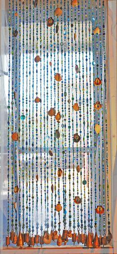Door beaded curtains, Door beads with sea shells, #housewares @EtsyMktgTool http://etsy.me/2kpDMYs #customsuncatcher #beadedsuncatcher