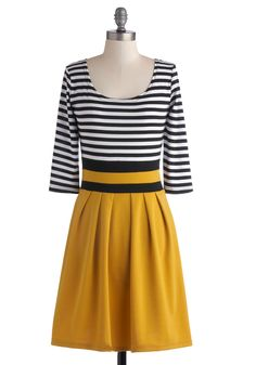 Modcloth Literary Luncheon Dress - Mid-length, Yellow, Black, White, Stripes, Pleats, Casual, A-line, 3/4 Sleeve, Good, Scoop, Fall, Top Rated