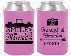 Smile We are Married, Custom Gifts, Arrow Wedding Gift, Wedding Party, Camera, Coozies (361)