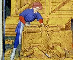 Two small planes with toat in the scene of building of the ark from the Bedford Hours (1410-1430), as well as a large plane. British Library, Add. MS 18850 folio 15v