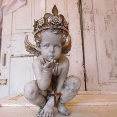 French cherub statue with handmade crown with fleur de lis aged patina angel figure home decor Anita Spero